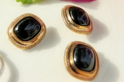 """Vintage Metallic Old Fashioned Plastic Black Shank Buttons 1"""" inch (10 pcs)"""