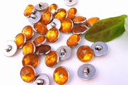 "Vintage Orange Gem Silver Shank Buttons 1/2"" inch (12 pcs)"