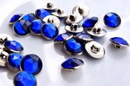 "Vintage Royal Blue Gem Silver Shank Buttons 5/8"" inch (10 pcs)"
