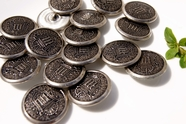 "Vintage Silver Embossed Metal Buttons 1 1/8"" inch (8 pcs)"