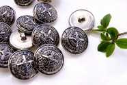 "Vintage Silver Embossed Metal Shank Buttons 7/8"" inch (8 pcs)"