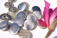 "Vintage Silver Metal Shank Buttons 1"" inch (10 pcs)"