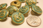"Vintage Teal Embossed Gold Metal Blazer Buttons ÷ 1"" inch (6 pcs)"