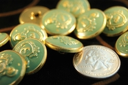 "Vintage Teal Embossed Gold Metal Blazer Buttons 13/16"" inch (8 pcs)"
