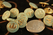 "Vintage Teal Embossed Gold Metal Shank Buttons 5/8"" inch (10 pcs)"