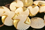 "White and Metallic Gold Designer Vintage Buttons 1"" inch (12 pcs)"