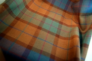 Wool Plaid Fabric in Turquoise Teal Brown Wine 13 yards