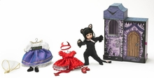 "8"" HAUNTED DELIGHT HALLOWEEN TRUNK SET-incl doll, 3 outfits"