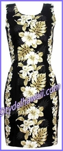 Tropical Floral Panel Hawaiian Tank Dress - 434Black