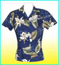 Hawaiian Lady Blouse - 413Navy