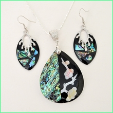 Abalone Shell Matching Necklace and Earrings Set