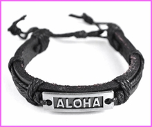 Aloha Genuine Leather Bracelet - Black