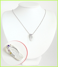 Aloha Slipper Silver Necklace