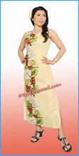 Anthurium & Orchid Hawaiian Paradise Dress - Yellow