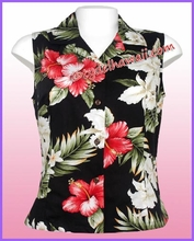 Hawaiian Sleeveless Blouse - 466Black