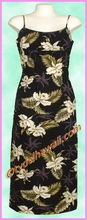 Garden Orchid Hawaiian Long Sun Dress - Black