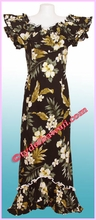 Garden Hibiscus Hawaiian Elegant Dress - Black