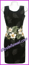 Island Hibiscus Border Hawaiian Tank Dress - 430Black