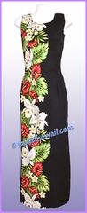 Anthurium & Orchid Hawaiian Paradise Dress - Black