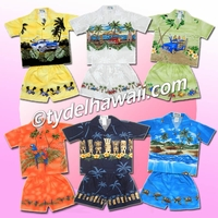 Border Design Hawaiian Boy Cabana Sets