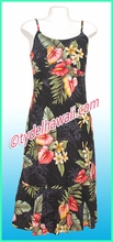 Rayon Hawaiian Classic Sun Dress - 821Black