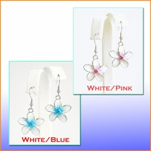Crystal CZ Glass Plumeria Earrings