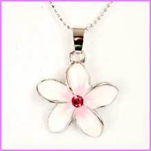 Crystal CZ Glass Plumeria Necklace - Pink
