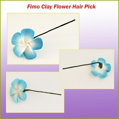 Fimo Flower Hair Pick - Blue