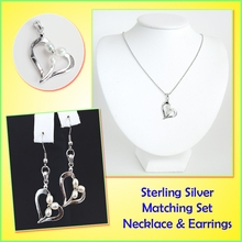 Freshwater Pearls on Heart shaped Sterling Silver Set