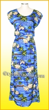 Full Length Hawaiian Luau Dress - 823Blue
