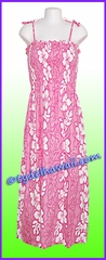 Full Length Hawaiian Smock Dress - 2130Pink
