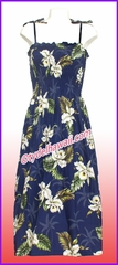Full Length Hawaiian Smock Dress - 413Navy