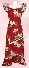 Garden Orchid Hawaiian Island Dress - Red