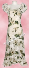 Garden Orchid Hawaiian Island Dress - White