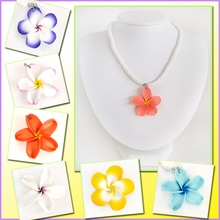 Genuine Puka Shell W/ Fimo Plumeria Necklace