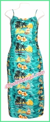 Sunset at Paradise Hawaiian Long Sun Dress - Green