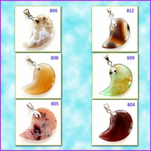 Half-Moon Shaped Agate Pendants