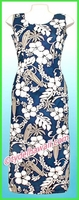 Hawaiian Long Tank Dress - 300Navy