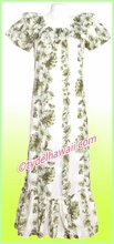 Hawaiian Muumuu Full Lenth - White