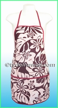 Hawaiian Print Apron - 401Red
