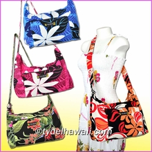 Hawaiian Print Shoulder Bag w/Zipper