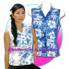 Hawaiian Sleeveless Blouse - 4340White