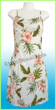 Hawaiian Sun Dress - White/Pink-Flowers