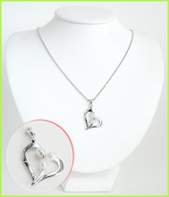 Heart Shaped w/Tri-Pearls Sterling Silver Necklace