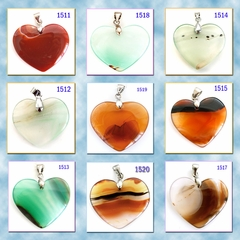 Heart Shaped Agate Stone Pendants