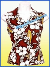 Hibiscus & Surfboard Hawaiian Sleeveless Blouse