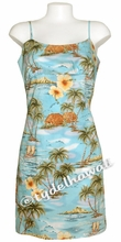 Island Paradise Hawaiian Sun Dress - Blue