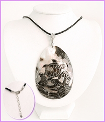 Large Carved Sea Turtle on Sea Shell Necklace