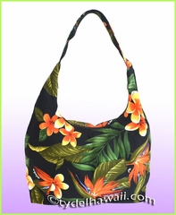 Large Hawaiian Print Hobo Bag w/Top Zipper - 103Black