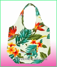 Large Reversible Hawaiian Print Hobo Bag -107Cream